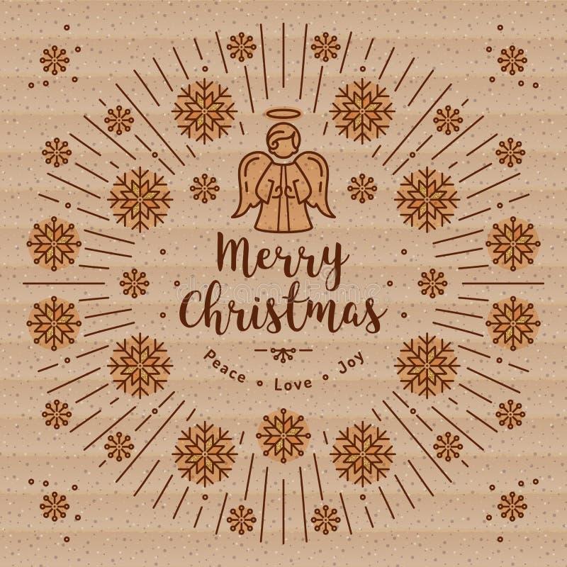 Tarjeta de Navidad de moda, ángel de Navidad, papel de Kraft, línea arte de los resplandores solares ilustración del vector