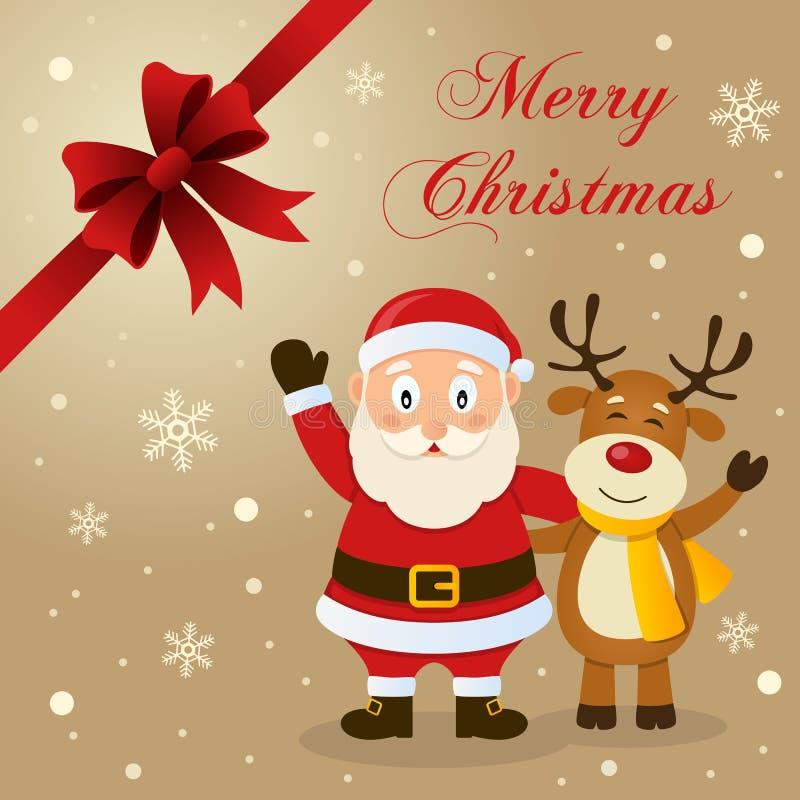 Tarjeta de Navidad de Santa Claus y del reno stock de ilustración