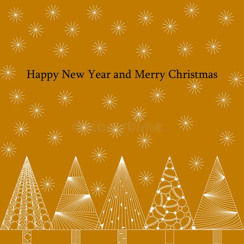Tarjeta de Navidad del Año Nuevo y en estilo del zenart, modelos blancos en un fondo coloreado, copos de nieve y árboles de navid ilustración del vector