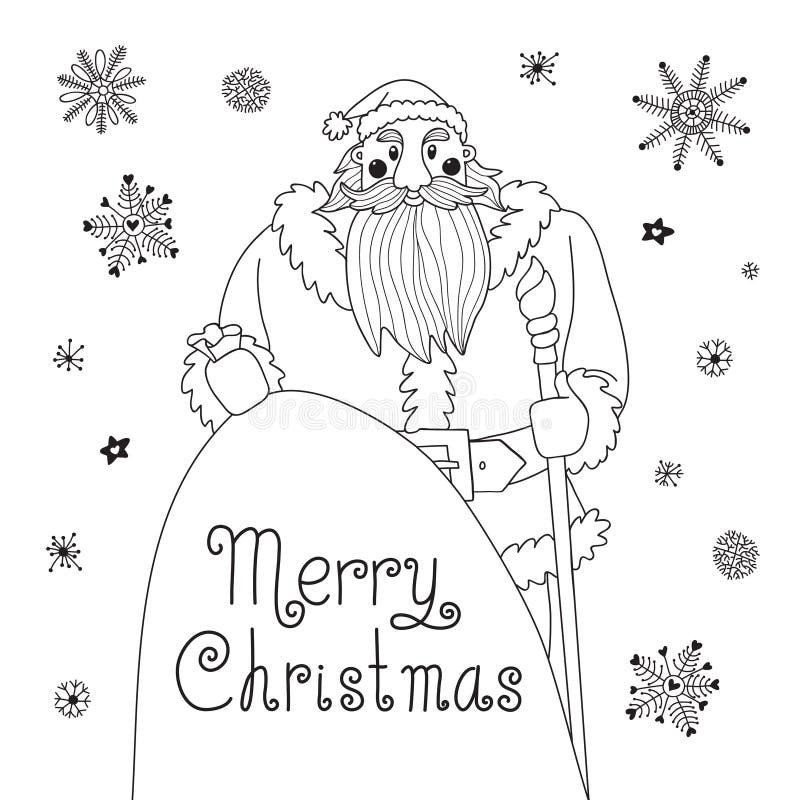Tarjeta de Navidad del bosquejo con Papá Noel poderoso. stock de ilustración