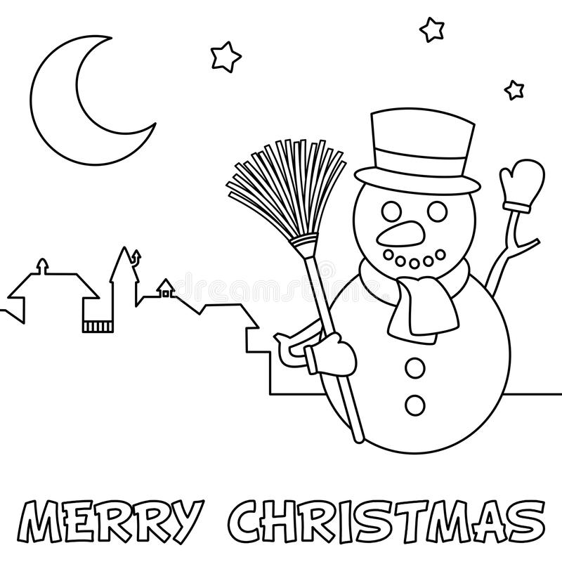 Tarjeta de Navidad del colorante con el muñeco de nieve ilustración del vector