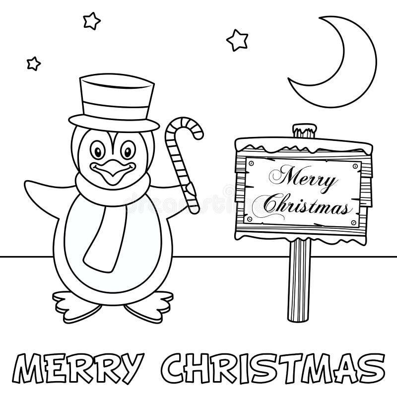 Tarjeta de Navidad del colorante con el pingüino stock de ilustración