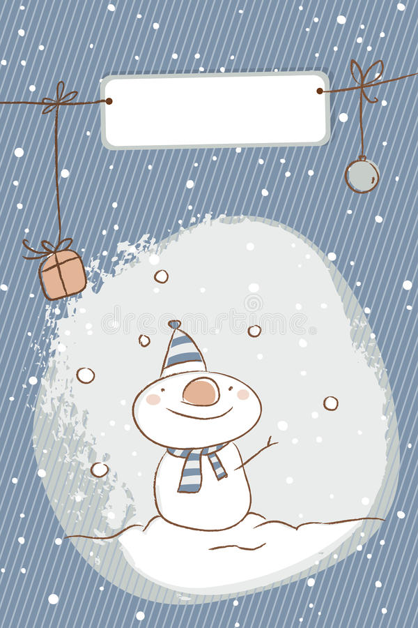 Tarjeta de Navidad del muñeco de nieve libre illustration