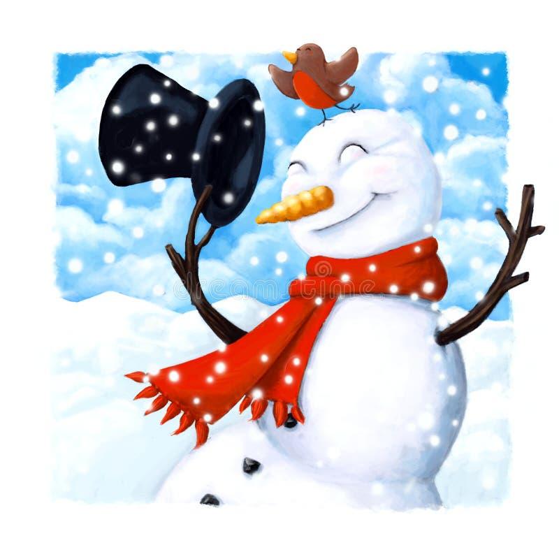 Tarjeta de Navidad del muñeco de nieve ilustración del vector