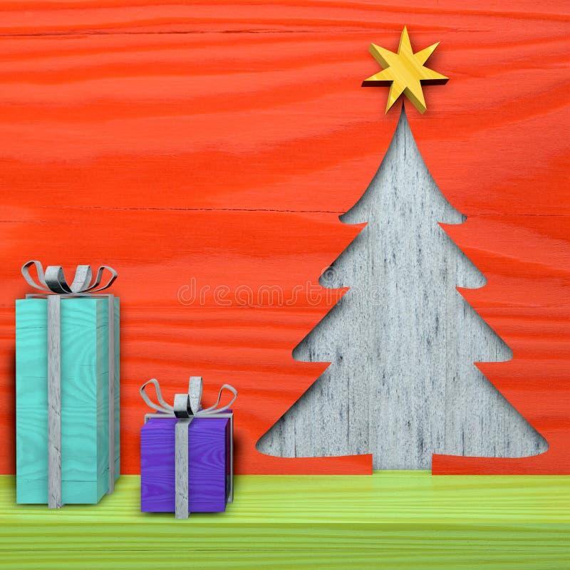 Tarjeta de Navidad del saludo, día de fiesta, madera, abeto ilustración del vector