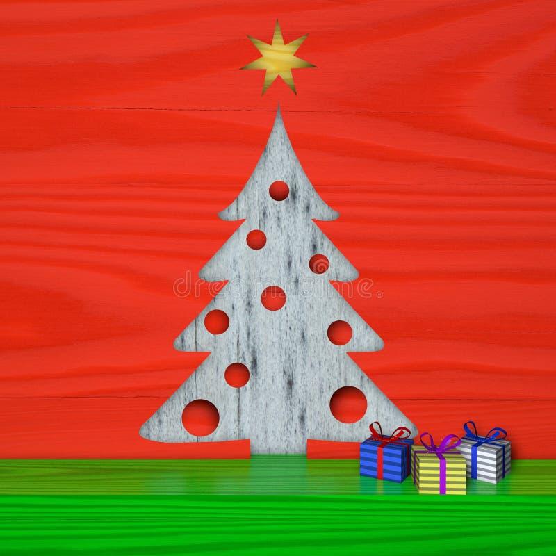 Tarjeta de Navidad del saludo, día de fiesta, madera, abeto libre illustration