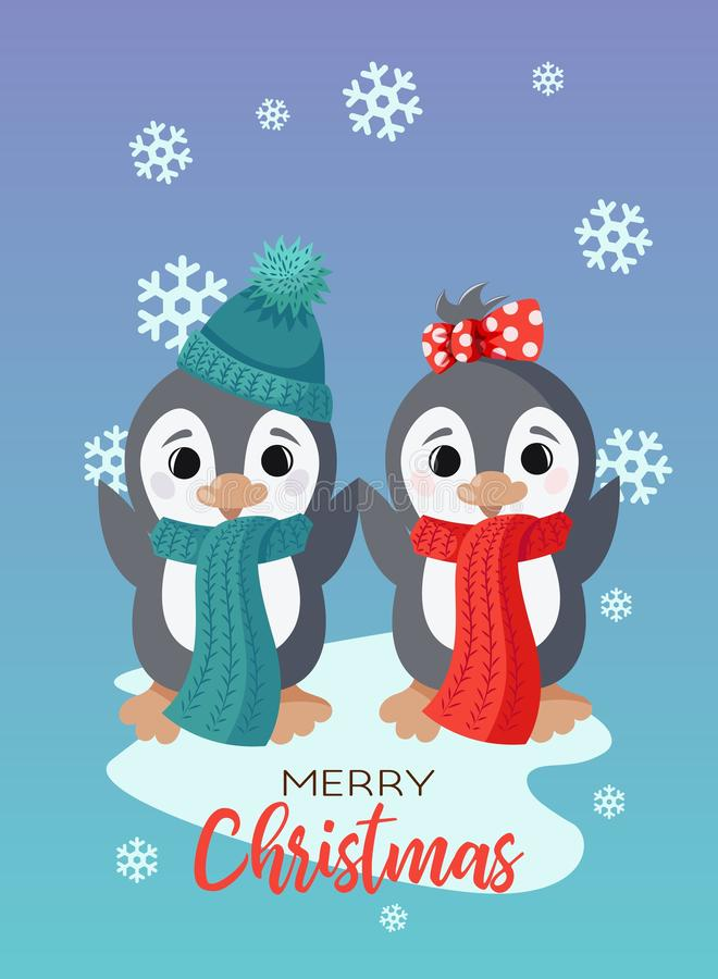 Tarjeta de Navidad del vector del día de fiesta con los pequeños caracteres lindos del pingüino stock de ilustración