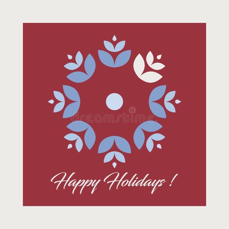 Tarjeta de Navidad del vector Tarjeta de felicitaciones del día de fiesta - todos los elementos aislados y fáciles de utilizar ilustración del vector