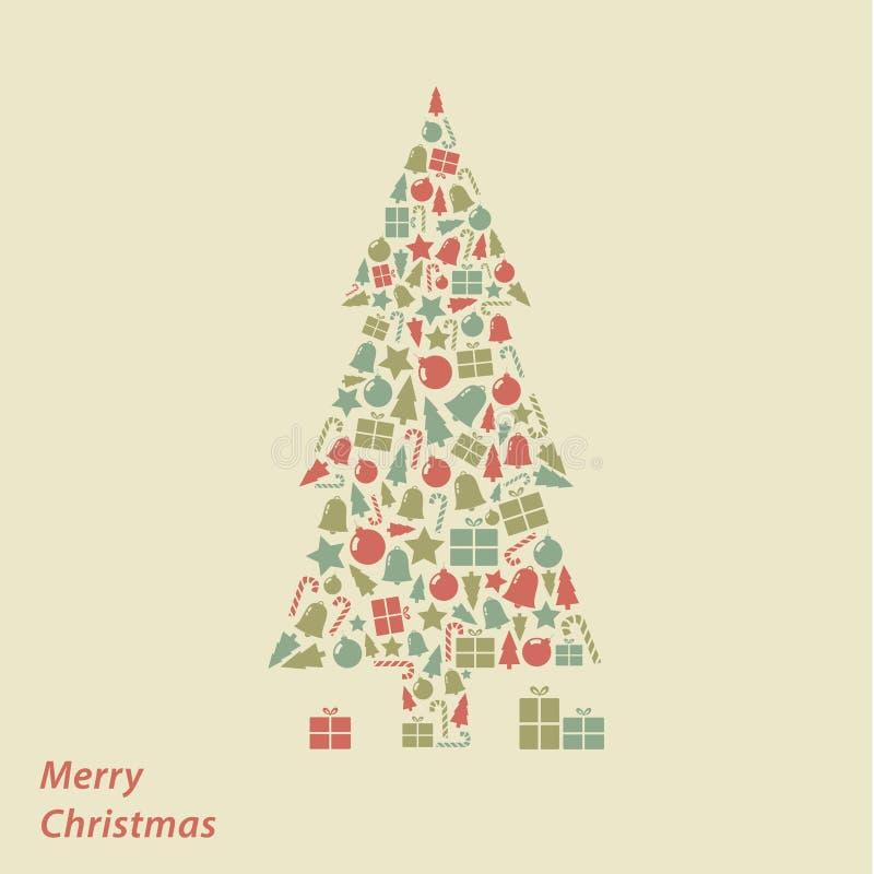 Tarjeta de Navidad del vector. Fondo moderno del cuadrado de la Navidad en fre libre illustration