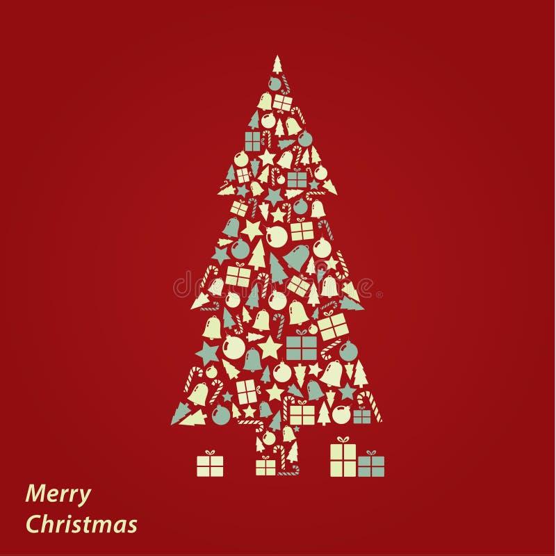 Tarjeta de Navidad del vector Fondo original de la Navidad en el co fresco stock de ilustración