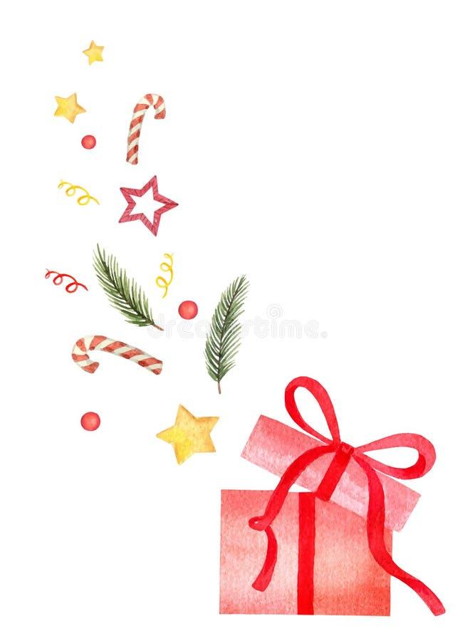 Tarjeta de Navidad del vector de la acuarela con las ramas, las decoraciones y el regalo verdes del abeto stock de ilustración