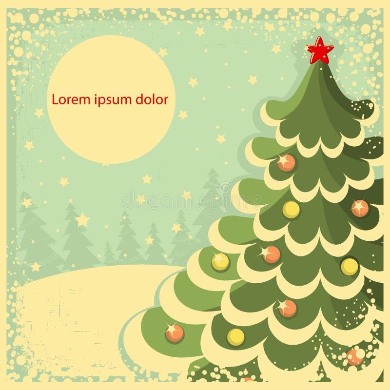 Tarjeta de Navidad del vintage con el árbol para el texto. IL retro ilustración del vector