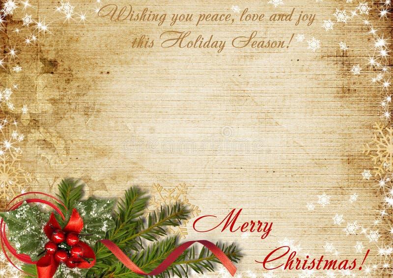 Tarjeta de Navidad del vintage con los deseos stock de ilustración