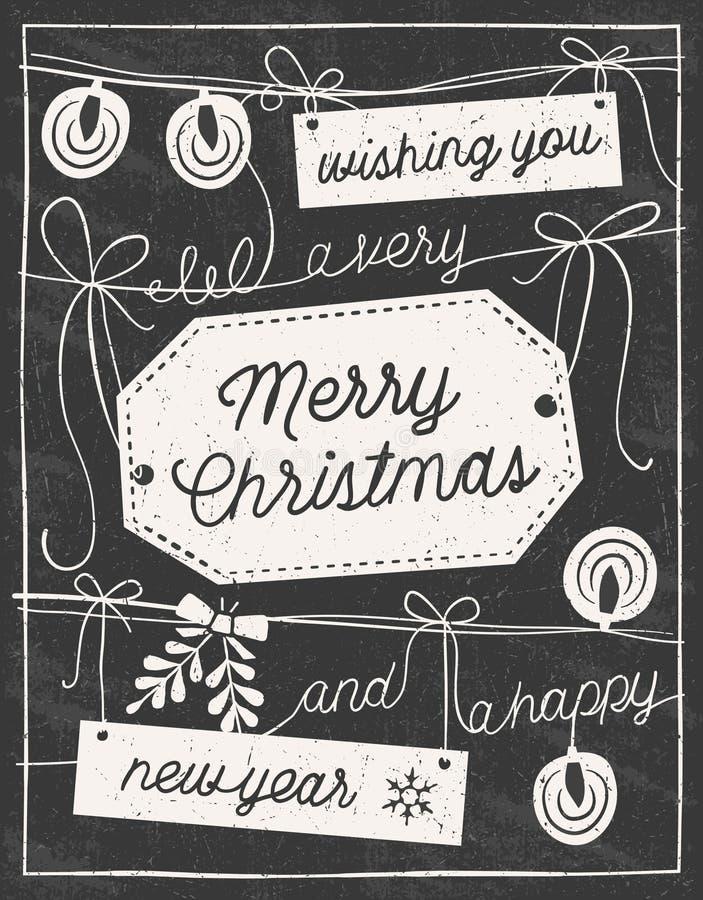 Tarjeta de Navidad dibujada mano de la pizarra stock de ilustración