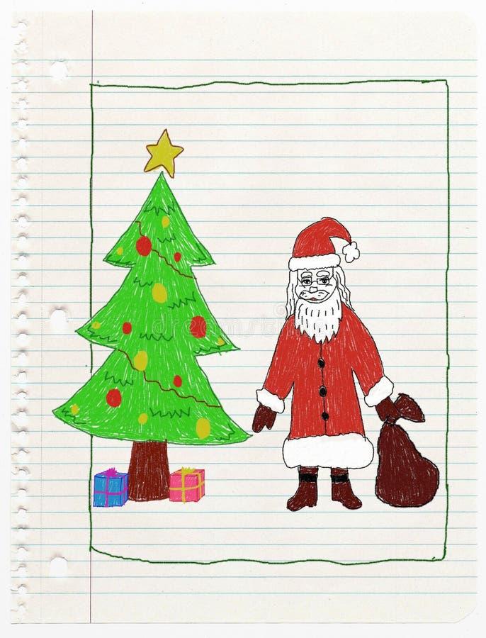 Tarjeta de Navidad - dibujo del niño ilustración del vector