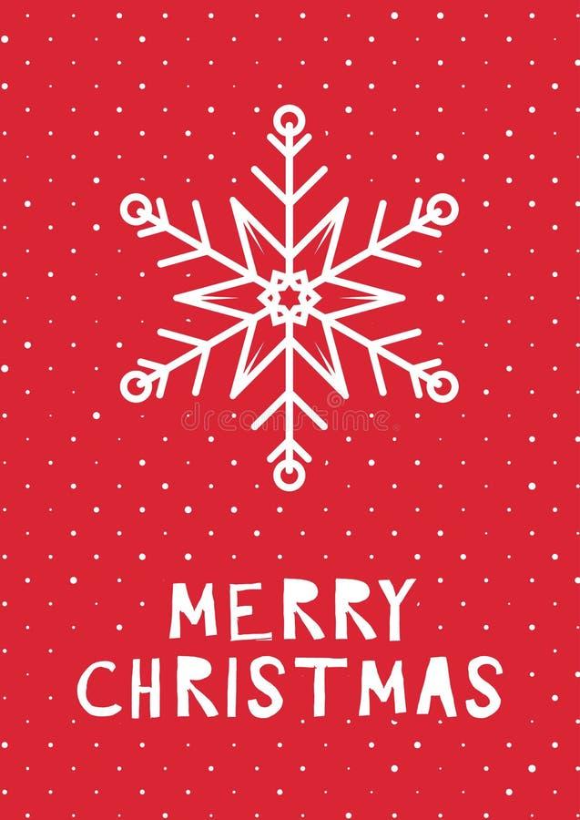 Tarjeta de Navidad diseñada retra stock de ilustración