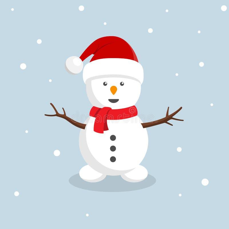 Tarjeta de Navidad diseñada retra con el muñeco de nieve con el sombrero de santa ilustración del vector