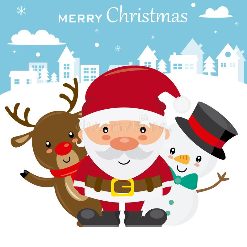 Tarjeta de Navidad divertida stock de ilustración