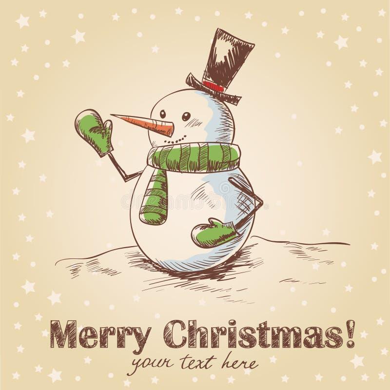 Tarjeta de Navidad drenada mano de la vendimia ilustración del vector