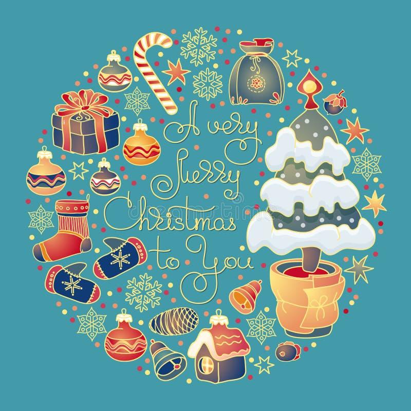 Tarjeta de Navidad Ejemplo Handdrawn de la Navidad con las letras Vector ilustración del vector