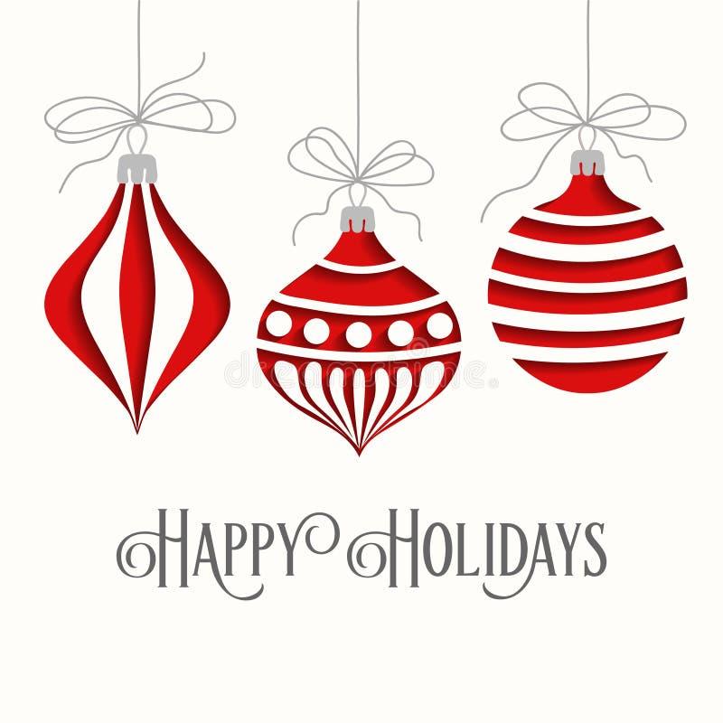 Tarjeta de Navidad elegante con las bolas ilustración del vector