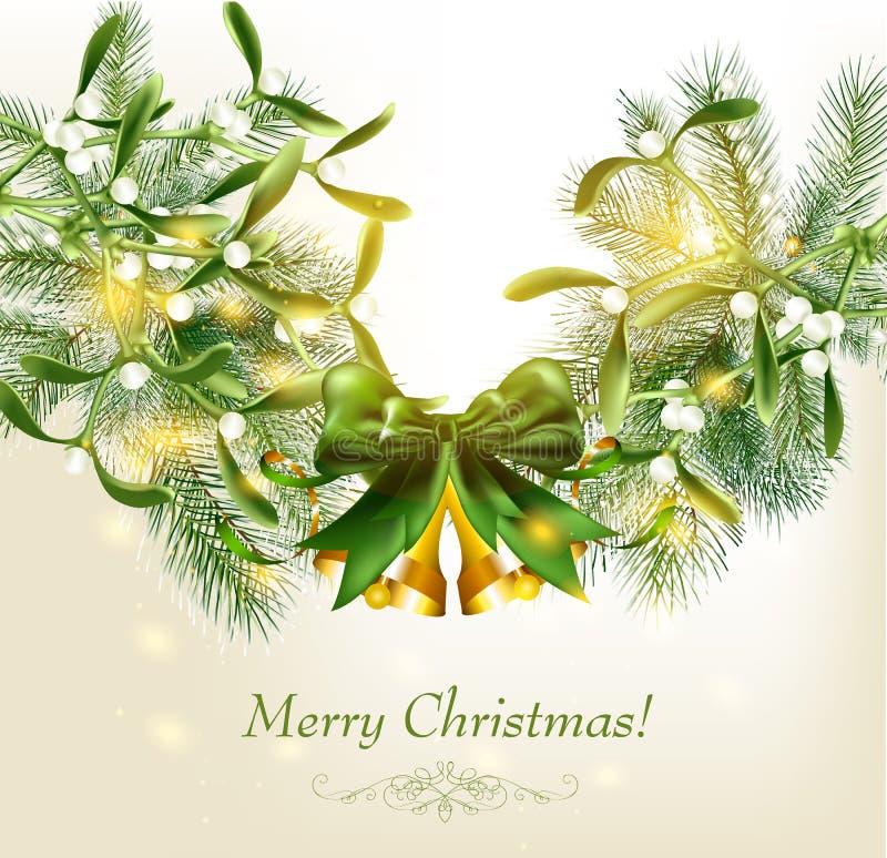 Tarjeta de Navidad elegante con las ramificaciones de la piel libre illustration
