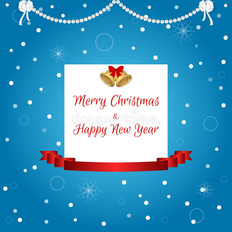 Tarjeta de Navidad en azul con una etiqueta blanca, campanas de oro y una cinta roja Conveniente para las invitaciones libre illustration