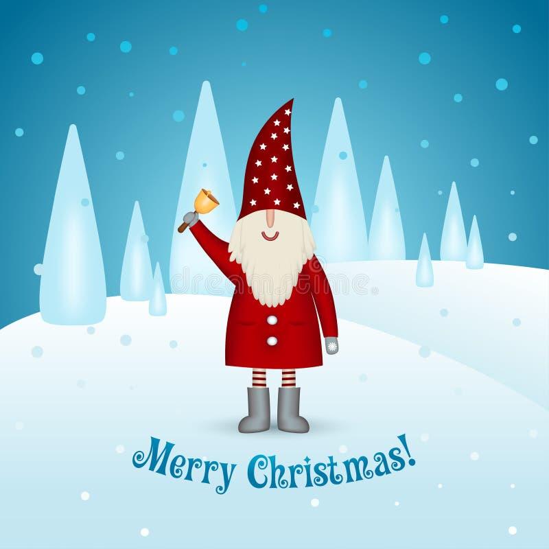 Tarjeta de Navidad en un fondo del invierno Duende sonriente feliz de Papá Noel con la campana ilustración del vector