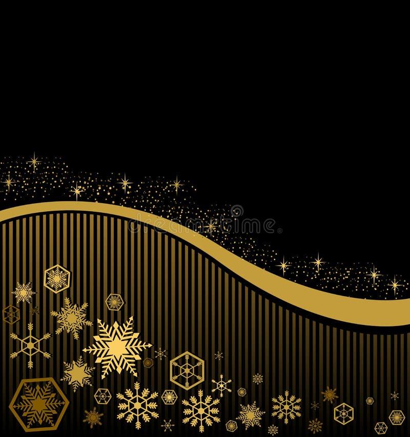 Tarjeta de Navidad en un fondo negro con las rayas del oro ilustración del vector