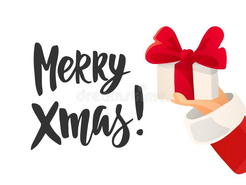 Tarjeta de Navidad Feliz texto de Navidad Mano de Santa Claus que se sostiene presente con el arco ilustración del vector