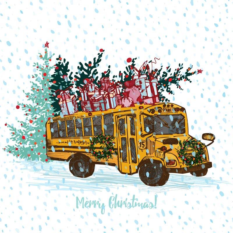 Tarjeta de Navidad festiva El autobús escolar amarillo con el árbol de abeto adornó bolas y los regalos rojos en el tejado Fondo  libre illustration
