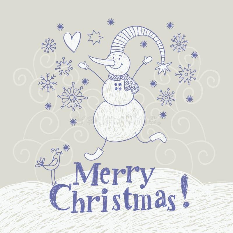 Tarjeta de Navidad, gráfico de la mano stock de ilustración