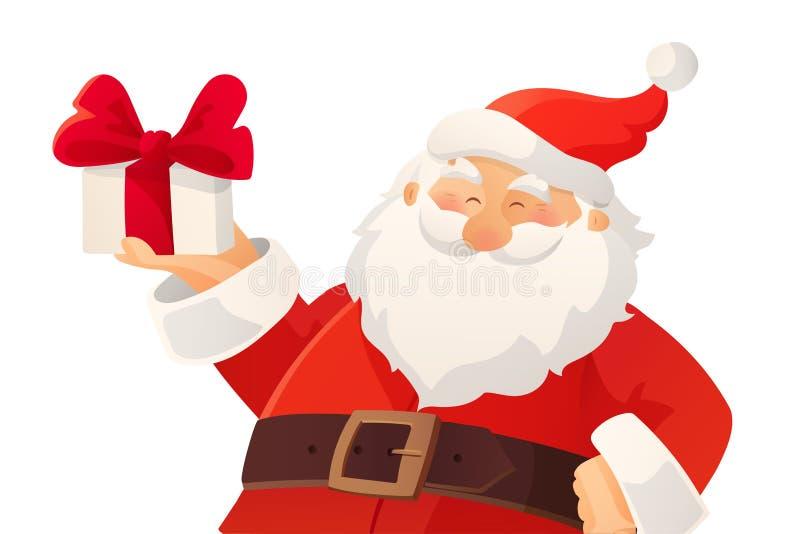 Tarjeta de Navidad Historieta divertida Santa Claus que se sostiene presente con el arco en su mano stock de ilustración