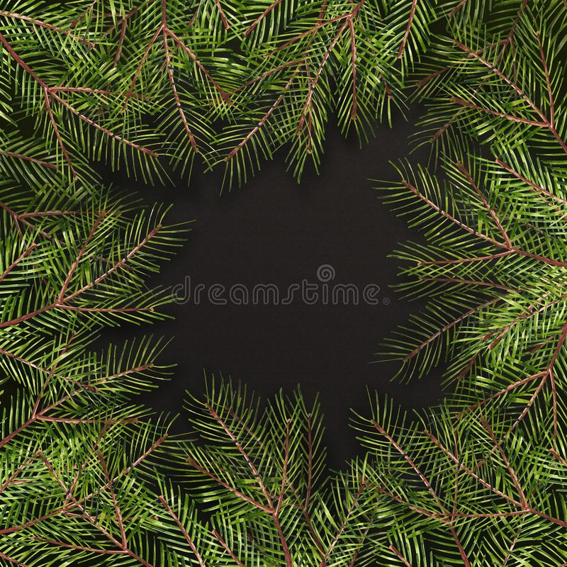 Tarjeta de Navidad de la acuarela Frontera del árbol del Año Nuevo con la decoración para el diseño, la impresión o el fondo Marc libre illustration