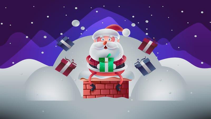 Tarjeta de Navidad linda con el ejemplo de Santa Vector stock de ilustración