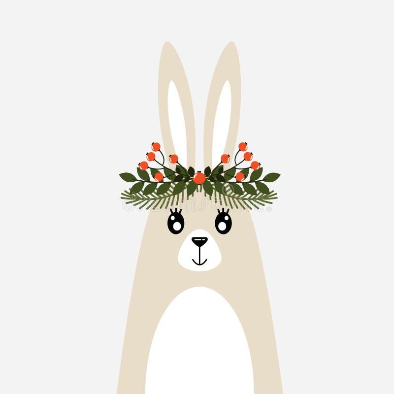 Tarjeta de Navidad linda con una imagen de un conejo stock de ilustración