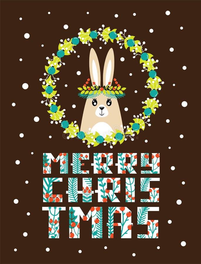 Tarjeta de Navidad linda con una imagen de un conejo ilustración del vector