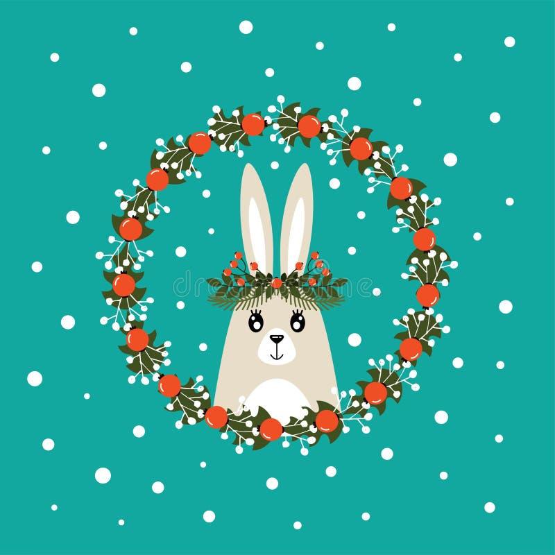 Tarjeta de Navidad linda con una imagen de un conejo libre illustration