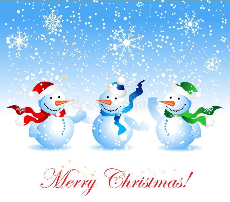 Tarjeta de Navidad, muñeco de nieve stock de ilustración