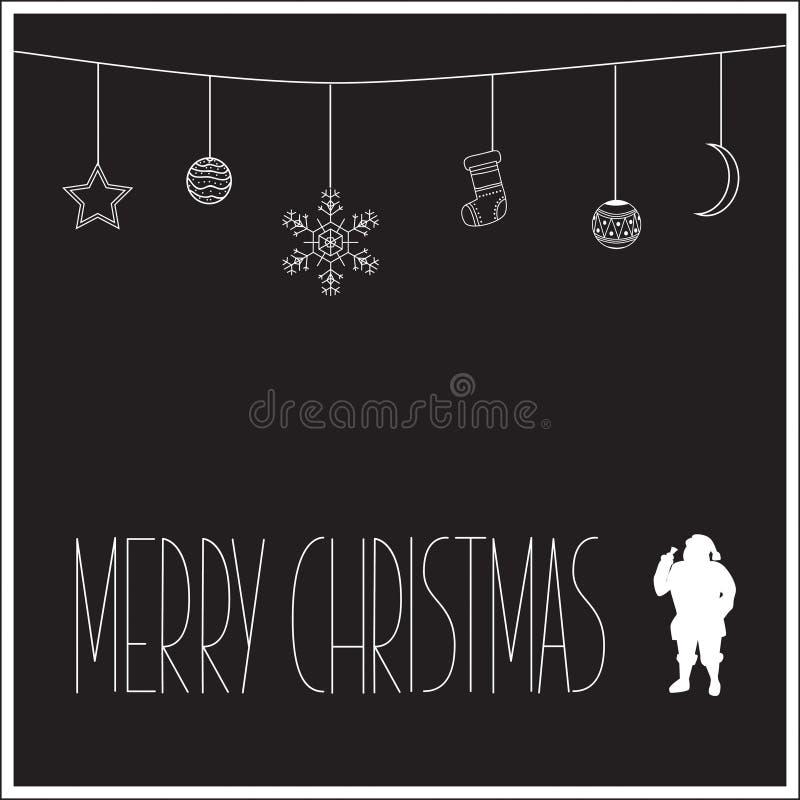 Tarjeta de Navidad negra con la silueta blanca de Santa Claus y del texto Ilustración del vector fotografía de archivo libre de regalías