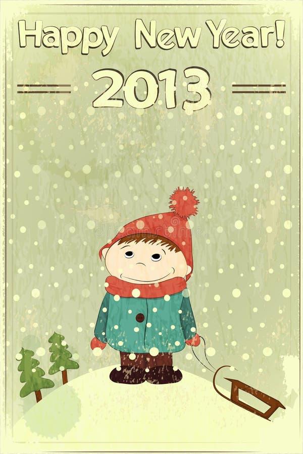Tarjeta de Navidad - niño pequeño y trineo stock de ilustración