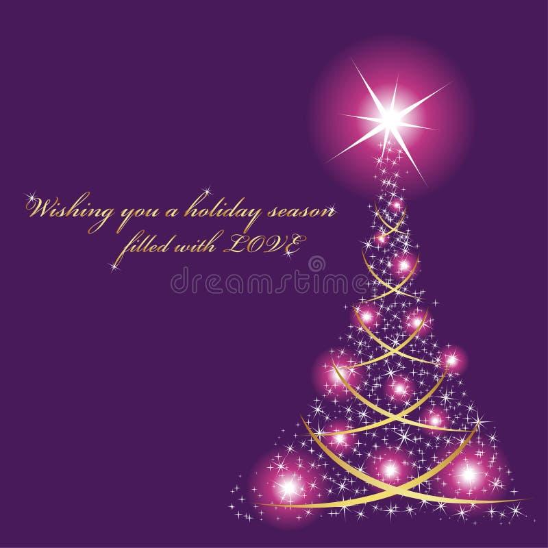 Tarjeta de Navidad púrpura fotografía de archivo