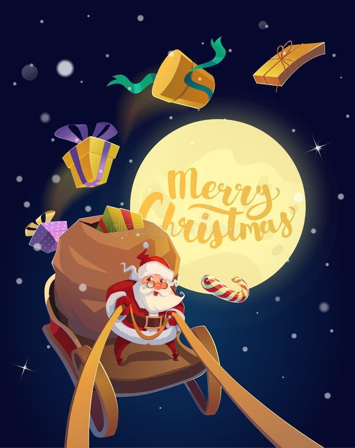 Tarjeta de Navidad Papá Noel con el manojo de presentes y de caramelos que montan en un trineo con la luna en el fondo Feliz Navi ilustración del vector