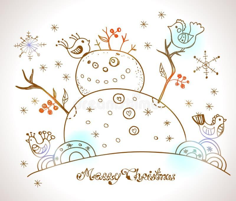 Tarjeta de Navidad para el diseño de Navidad con el muñeco de nieve ilustración del vector