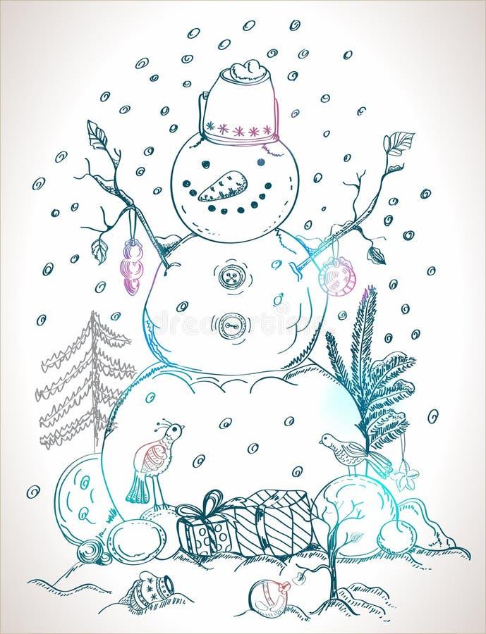 Tarjeta de Navidad para el muñeco de nieve drenado mano del diseño de Navidad libre illustration
