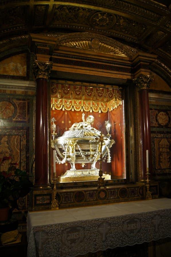 Tarjeta de Navidad - pesebre original Santa Maria Maggiore Rome de Jesús foto de archivo libre de regalías