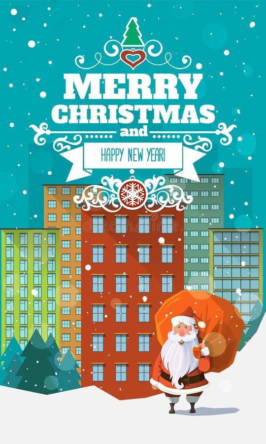 Tarjeta de Navidad plana moderna elegante con la insignia ilustración del vector