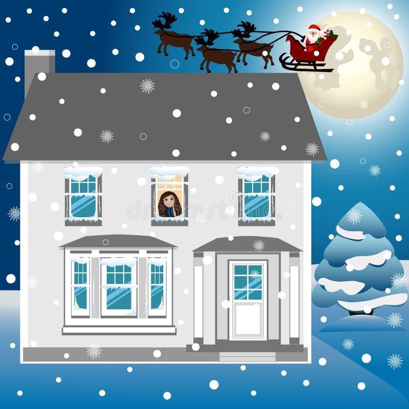 Tarjeta de Navidad Postal de la Navidad con Papá Noel en trineo ilustración del vector
