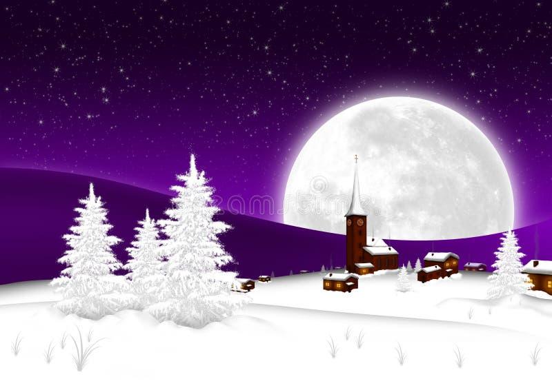 Tarjeta de Navidad - pueblo de montaña Nevado con la Luna Llena grande y el fondo estrellado del cielo ilustración del vector