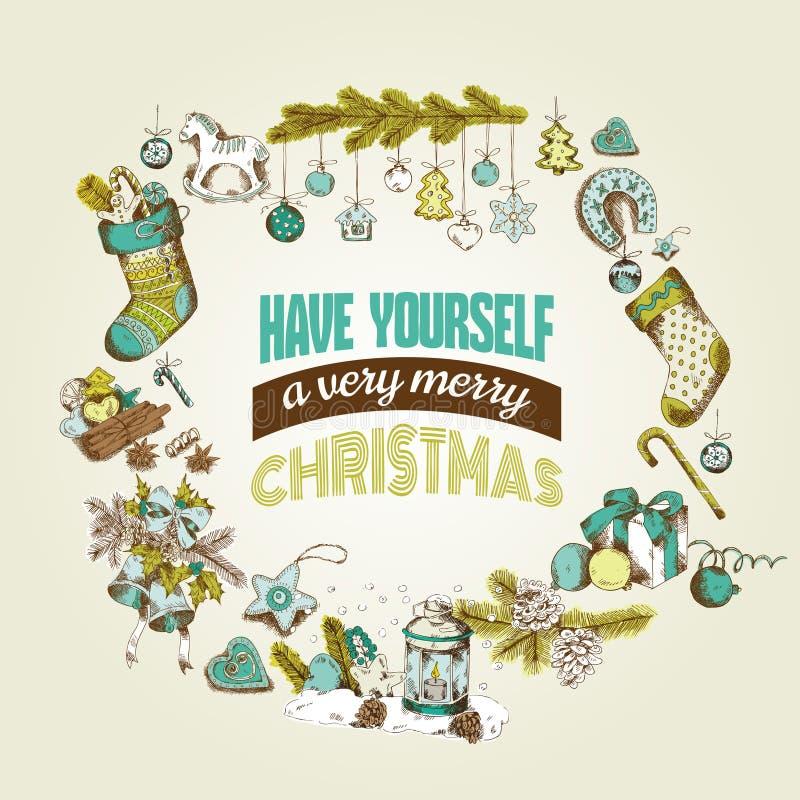 Tarjeta de Navidad retra stock de ilustración